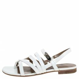 Hermes White Leather Marine Strappy Flat Sandals Size 38.5 330040