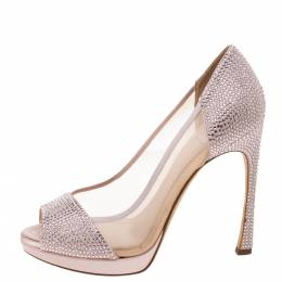 Dior Pink Leather, Satin and Mesh Crystal Embellished Peep Toes Pumps Size 39 330699