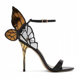 Sophia Webster Black and Gold Chiara Heeled Sandals FAW20020