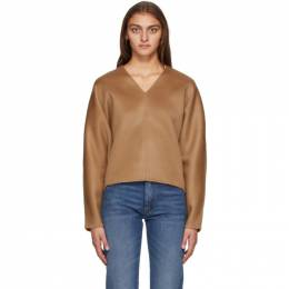 Toteme Tan Wool Rennes V-Neck Sweater 194-716-717