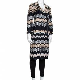 Missoni Two Tone Wavy Knit Double Breasted Coat M 330667