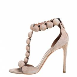 Alaia Beige Suede Studded 'Bombe' T-Strap Ankle Cuff Sandals Size 38.5 330606