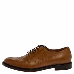 Gucci Tan Bee Brogue Detail Leather Lace Up Oxford Size 44 331406
