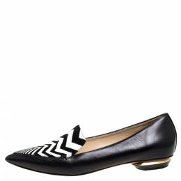 Nicholas Kirkwood Black/White Leather Beya Zigzag Pointed Toe Ballet Flats 38 333824