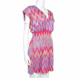 M Missoni Pink & Blue Lurex Zig Zag Knit Mini Dress M 329549