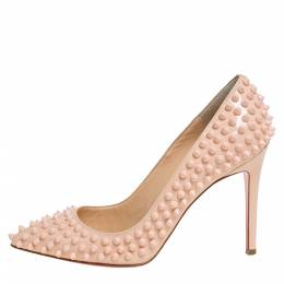 Christian Louboutin Beige Patent Leather Pigalle Spikes Pointed Toe Pumps Size 38 333523