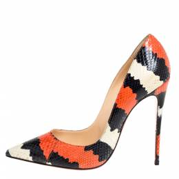 Christian Louboutin Tri Color Python Leather So Kate Pointed Toe Pumps Size 38 333515