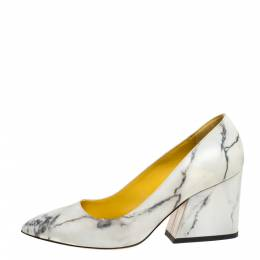 Charlotte Olympia Cream Marble Print Leather Mabel Pumps Size 37.5 333880