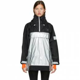 Adidas by Stella McCartney Silver and Black Stella McCartney Collection Pull-On Jacket FU0272