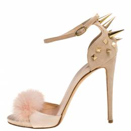 Giuseppe Zanotti Peach Satin, Suede and Fur Spiked Ankle Strap Sandals Size 37.5 333936