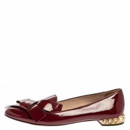 Miu Miu Burgundy Patent Leather Crystal Embellished Heel Bow Slip On Loafers Size 39 333590