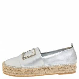 Roger Vivier Metallic Silver Bead and Sequin Embellished Espadrille Flats Size 39 333917