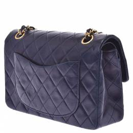 Chanel Navy Blue Lambskin Leather Double Flap Shoulder Bag 331568
