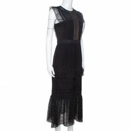 Self-Portrait Black Guipure Lace Ruffled Midi Dress M 330501