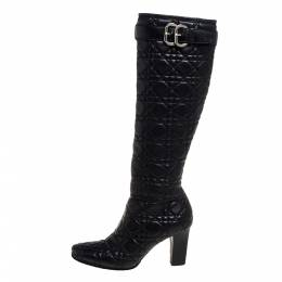Dior Black Cannage Quilted Leather Buckle Detail Knee High Boots Size 36 331903