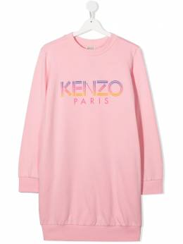 Kenzo Kids logo print cotton sweatshirt dress KR30208