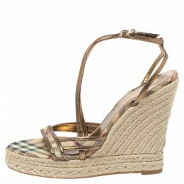 Burberry Gold/Beige House Check PVC and Patent Leather Criss Cross Espadrille Sandals Size 40.5 335455