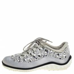 Miu Miu Grey Embellished Satin and Mesh Astro Sneakers Size 39 334343