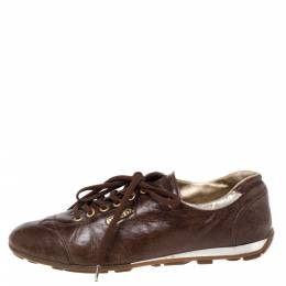 Prada Sports Brown Leather Lace Low Top Sneakers Size 38 335972