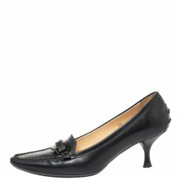 Tod's Black Leather Pointed Toe Penny Loafer Pumps Size 36 335841