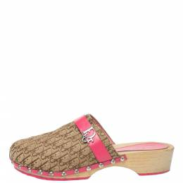 Dior Pink/White Diorissimo Canvas And Leather Trim Clog Mules Size 34 335893