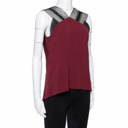 Roland Mouret Limited Edition Burgundy Crepe Lace Trim Dave Top S 335926