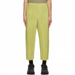 Homme Plisse Issey Miyake Yellow Gingham Hologram Trousers HP08JF241