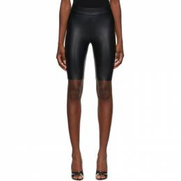 Wolford Black Faux-Leather Edie Biker Shorts 19297