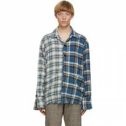 Greg Lauren Blue Denim Edged Boxy Studio Shirt AM045