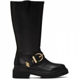 Versace Jeans Couture Black Rodeo Buckle Tall Boots EE0VZAS40 E71563