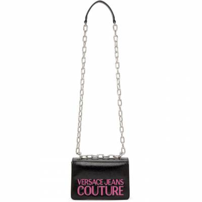 Versace Jeans Couture Black and Pink Faux-Leather Logo Bag EE1VZABP8 E71412 - 1