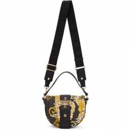 Versace Jeans Couture Black Faux-Leather Baroque Round Buckle Bag EE1VZABF2 E71579
