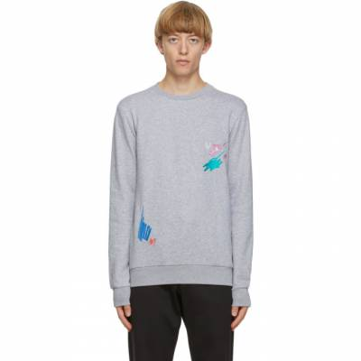 Paul Smith Grey Marker Pen Embroidered Sweatshirt M1R-302S-EP1945 - 1