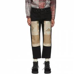 Black Patchwork Trench Jeans Children of the Discordance COTDNYPT-310