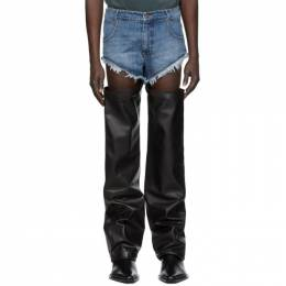 Blue and Black Leather Thigh Hole Trousers Telfar FW20-D-12