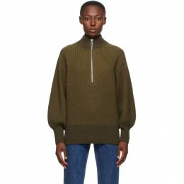Won Hundred Green Wool Delaney Zip Up Sweater 0919-11021
