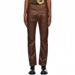 Dries Van Noten Brown Coated Cotton Trousers 22413-1176-703