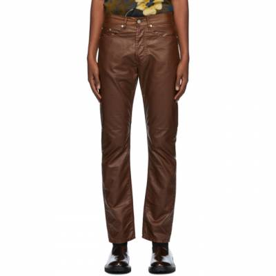 Dries Van Noten Brown Coated Cotton Trousers 22413-1176-703 - 1