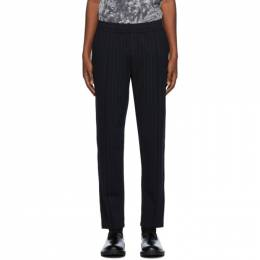 Dries Van Noten Navy Pinstripe Tapered Trousers 21117-1159-509