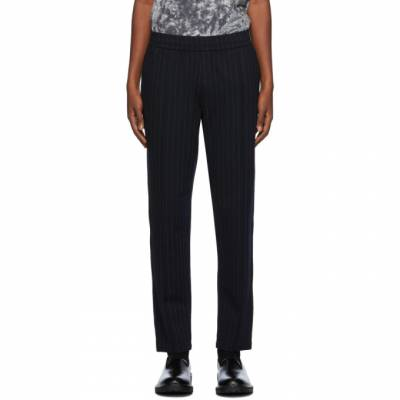 Dries Van Noten Navy Pinstripe Tapered Trousers 21117-1159-509 - 1