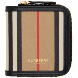 Burberry Beige E-Canvas Stripe Allington Wallet 8032955