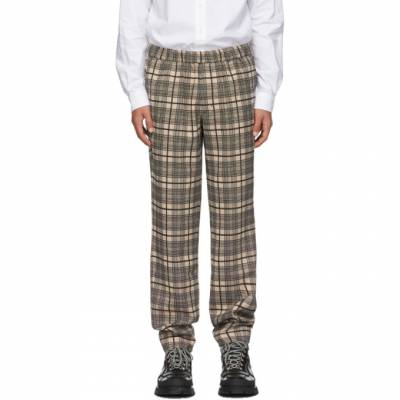 Khaki and Black Wool Checked Pop Trousers Schnaydermans 3200544-01 - 1
