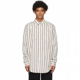 White and Khaki Striped Oversize Shirt Schnaydermans 2200565-01