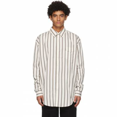 White and Khaki Striped Oversize Shirt Schnaydermans 2200565-01 - 1