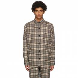 Black and Khaki Wool Checked Over Shirt Schnaydermans 4100570-01