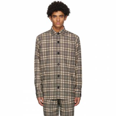 Black and Khaki Wool Checked Over Shirt Schnaydermans 4100570-01 - 1