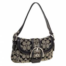 Coach Grey/Black Signature Canvas and Leather Shoulder Bag 334907