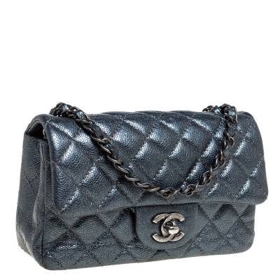 Chanel Metallic Dark Blue Quilted Leather New Mini Classic Single Flap Bag 333773 - 2