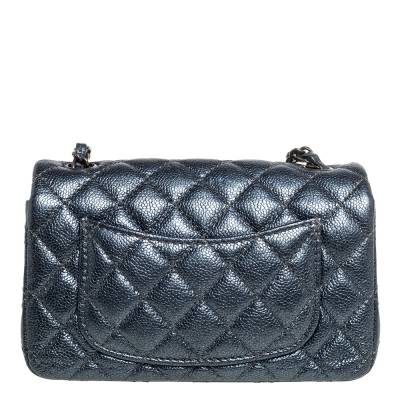 Chanel Metallic Dark Blue Quilted Leather New Mini Classic Single Flap Bag 333773 - 3