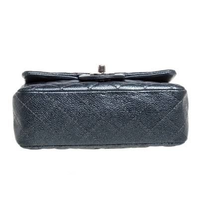 Chanel Metallic Dark Blue Quilted Leather New Mini Classic Single Flap Bag 333773 - 5